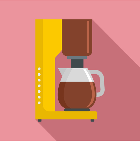 Coffee maker icon. Flat illustration of coffee maker vector icon for web design Çizim