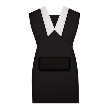 Woman work uniform mockup. Realistic illustration of woman work uniform vector mockup for web design isolated on white background