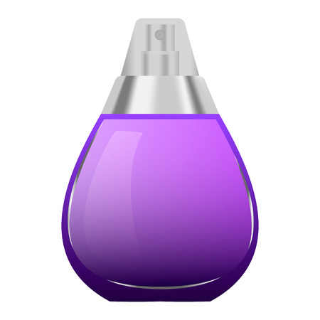 Violet perfume bottle mockup. Realistic illustration of violet perfume bottle vector mockup for web design isolated on white background