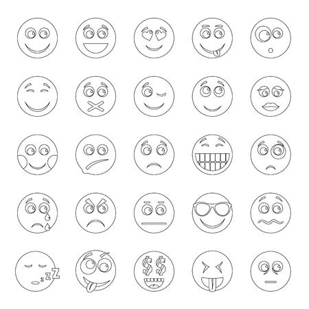 Smile icon set. Outline illustration of 50 smile  icons for web Stock Photo