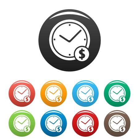 Clock money icons set. Simple illustration of clock money  icons isolated on white background Stock Photo