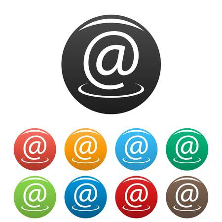 Email address icons set.  simple set of email address  icons in different colors isolated on white