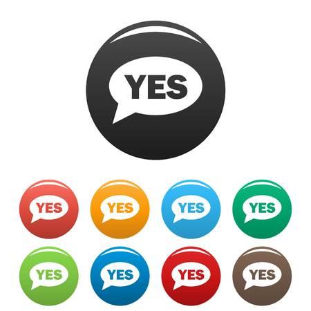 Yes icons set.  simple illustration of yes icons set isolated on white background Stock Photo