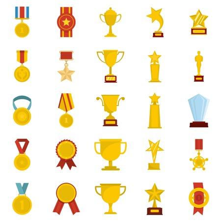 Medal award icon set isolated, flat style