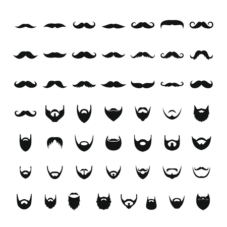 Mustache and beard icons set, simple style