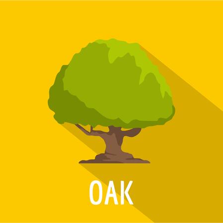 Oak tree icon, flat style