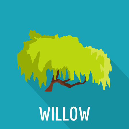 Willow tree icon, flat style Stock Photo