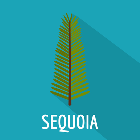 Sequoia leaf icon, flat style Imagens