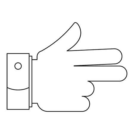 Gun gesture icon, outline style. Stock Photo - 105785555