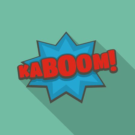 Comic boom kaboom icon, flat style Stock Photo