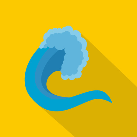 Wave nature icon, flat style