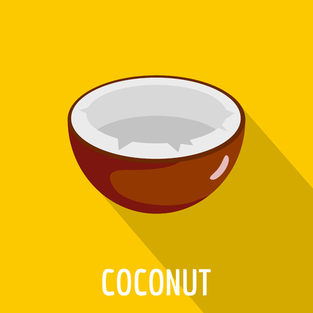Coconut icon, flat style