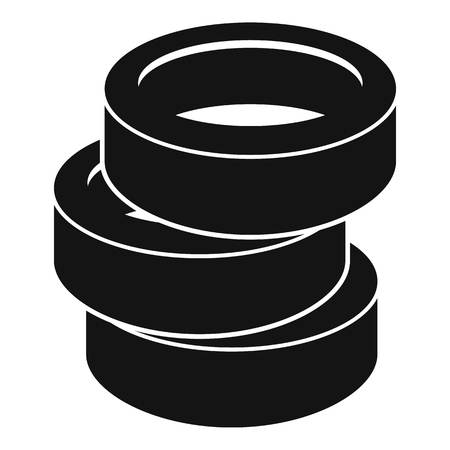Stack of tire icon, simple style. Stock Photo