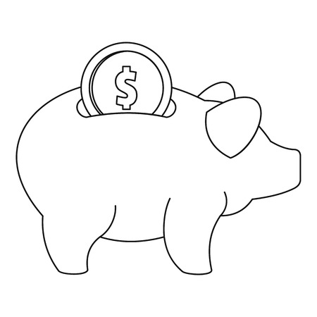 Piggy bank icon. Outline illustration of piggy bank  icon for web