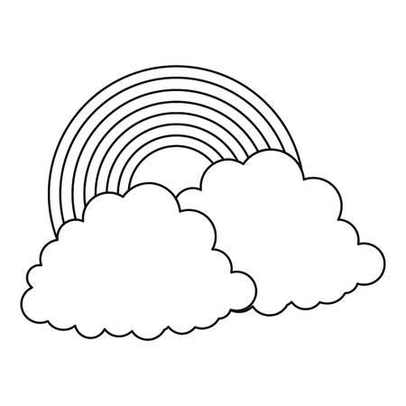 Rainbow icon. Outline illustration of rainbow icon for web