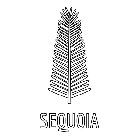 Sequoia branch icon, outline style. Stock Photo
