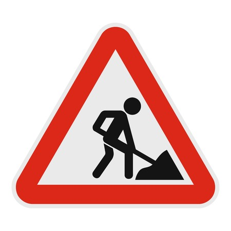Work on the road icon, flat style.