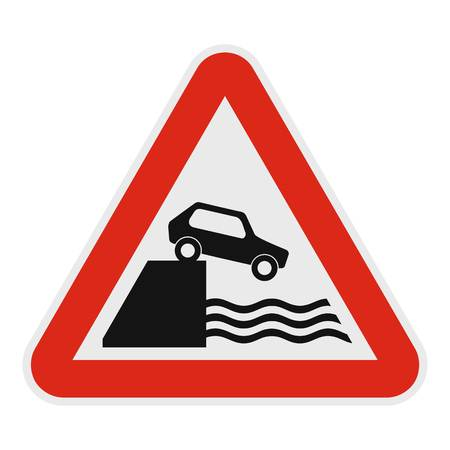 Car on a precipice over water icon, flat style.