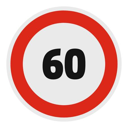 Maximum speed limit icon, flat style.