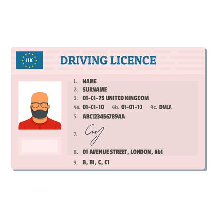 English driving license icon, flat style.