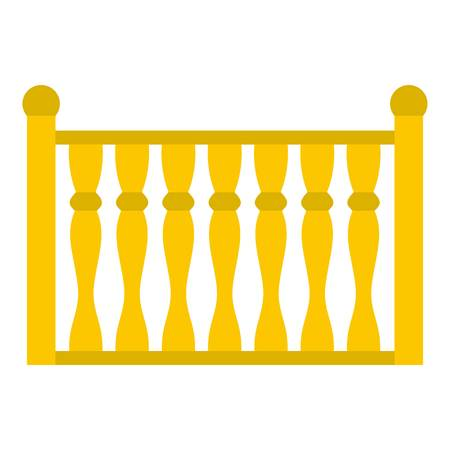 Fence with column icon, flat style. Stock Photo
