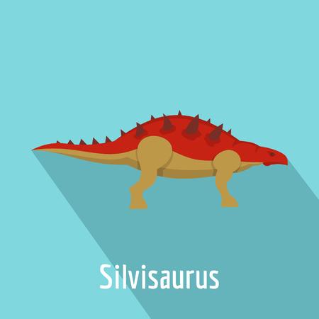 Silvisaurus icon, flat style. Stock Photo