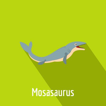 Mosasaurus icon, flat style.
