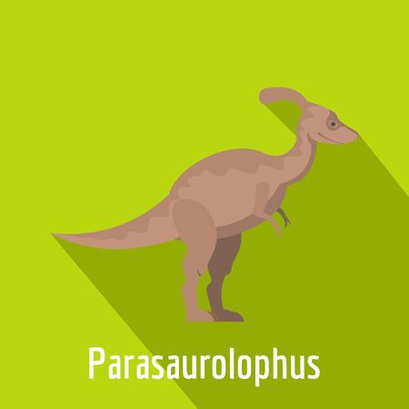 Parasaurolophus icon, flat style. Stock Photo