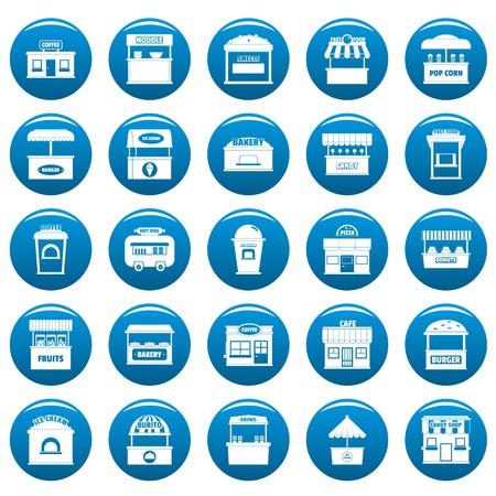Street food kiosk icons set blue. Simple illustration of 25 street food kiosk  icons for web