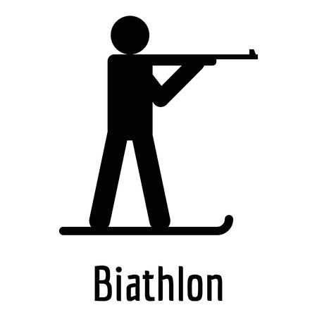 Biathlon icon. Simple illustration of biathlon  icon for web. Archivio Fotografico