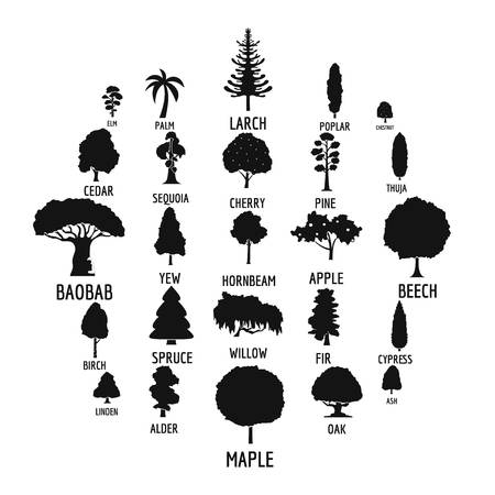 Tree icons set. Simple illustration of 25 tree icons for web