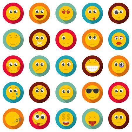 Smile icon set. Flat illustration of 50 smile  icons circle isolated on white