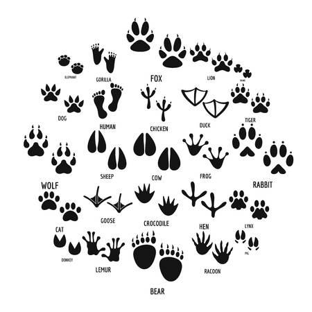 Animal footprint icons set. Simple illustration of 25 animal footprint  icons for web