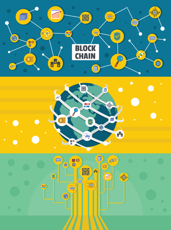A flat illustration of 3 blockchain industry miner banner horizontal concepts for web Stock Photo