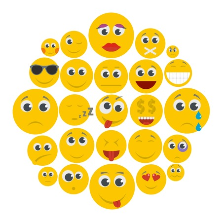 A flat illustration of smile icons for any web design