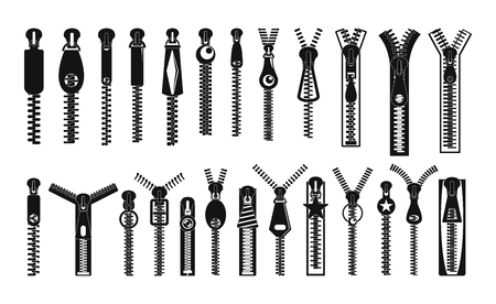 A simple illustration of 32 zipper puller button lock icons for web