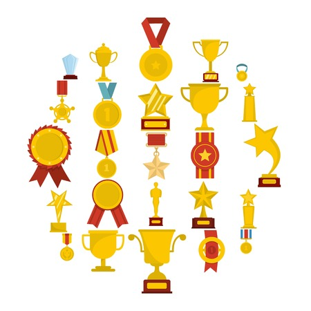 A flat illustration of 25 medal award icons for web Stock Photo