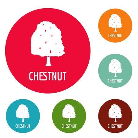 Chestnut tree icons circle set isolated on white background