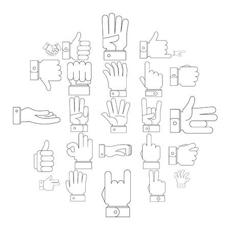 Gesture icons set. Outline illustration of 25 gesture icons for web