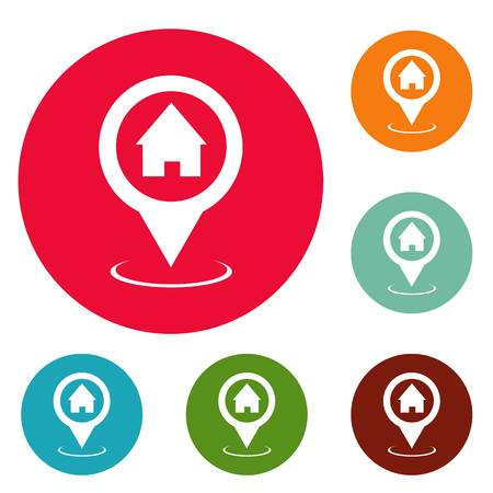 Home map pointer icons circle set isolated on white background 免版税图像