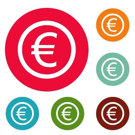 Euro symbol icons circle set isolated on white background