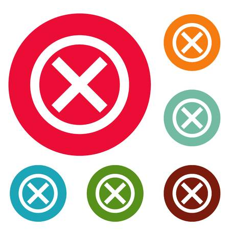No sign icons circle set isolated on white background Banco de Imagens