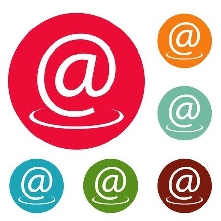 Email address icons circle set isolated on white background