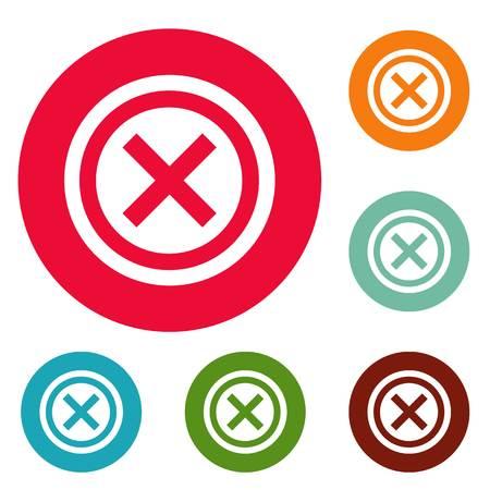 Not icons circle set isolated on white background