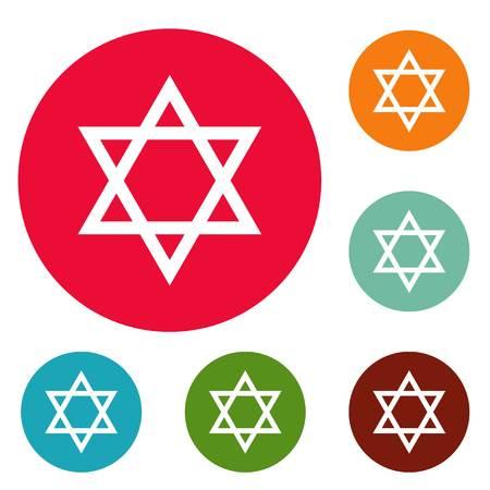 David star icons circle set isolated on white background