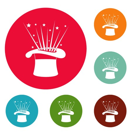 Hat and firework icons circle set isolated on white background