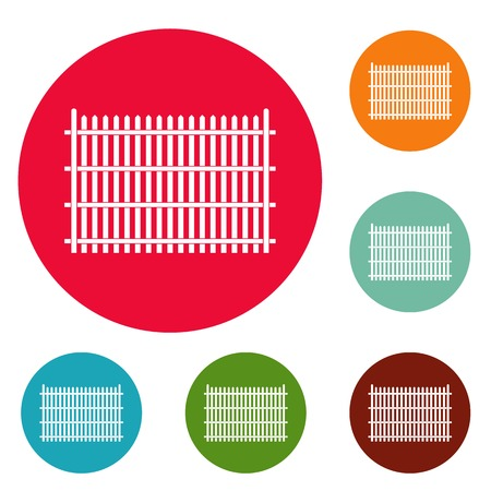 Country fence icons circle set isolated on white background Banco de Imagens