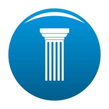 Triangular column icon blue circle isolated on white background