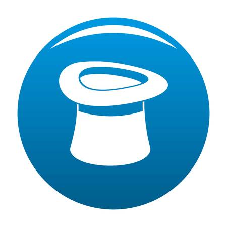 Inverted hat icon blue circle isolated on white background