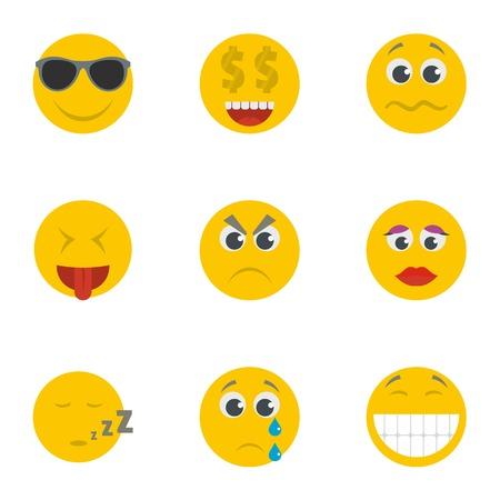 Smile icons set. Cartoon set of 9 smile icons for web isolated on white background